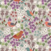 Lewis & Irene The Hedgerow - 5553  - Birds & Hedgerow Floral on Pale Beige - A251.1 - Cotton Fabric
